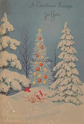 #1302 60s Glittered Tree in the Woods- Vintage Christmas Card-Greeting