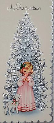 #1317 60s Angel & Lamb-Silver Tree-Vintage Christmas Card-Greeting