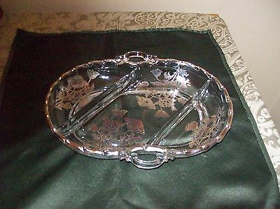 Beautiful Vintage Silver Flowered Gilded Candy / Serving Dish with Handles