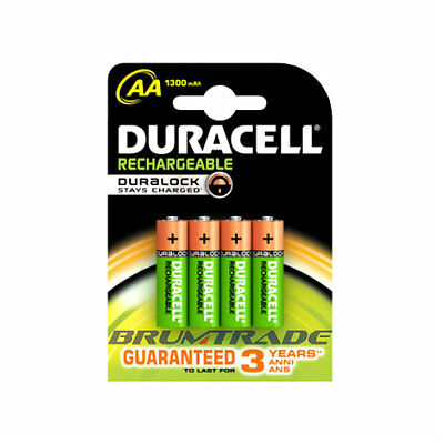 16 x Duracell AA 1300mAh 1.2V NiMH Pre-Charged Rechargeable Batteries HR6