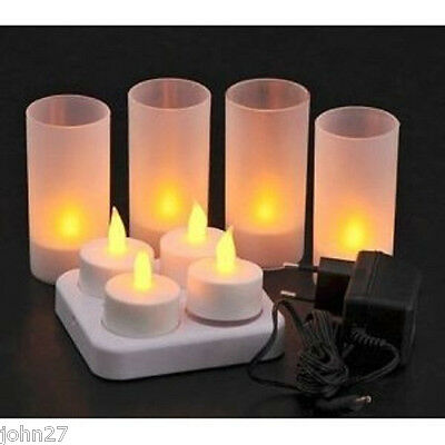 NEW LED Rechargeable Flameless Tea Light Candles with Difused Votives. Set of 4