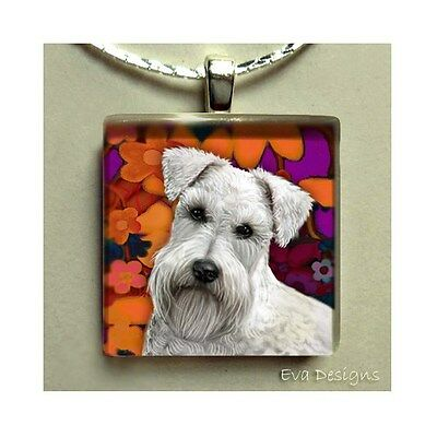 White Schnauzer Dog Art Charm Necklace Jewelry Glass Tile Pendant Necklace