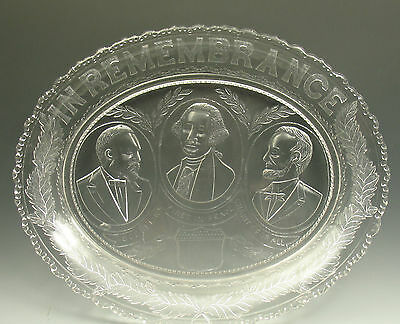 Antique EAPG Three Presidents Glass Bread Plate Platter IN REMEMBRANCE
