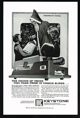 1959 Keystone Slide Projector Father Christmas Norway St Nicholas Print Ad
