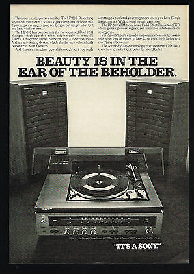 1975 Sony Model Hp-810 Compact System Dual 1211 Record Changer Print Ad