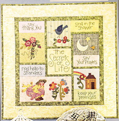 PATTERN - Secrets of Life - applique, pieced & stitchery wall quilt  PATTERN