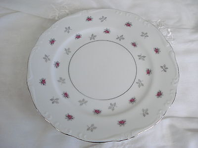 Three Fine China of Japan ROSETTE Dinner Plates Pink Roses & Platinum Accents