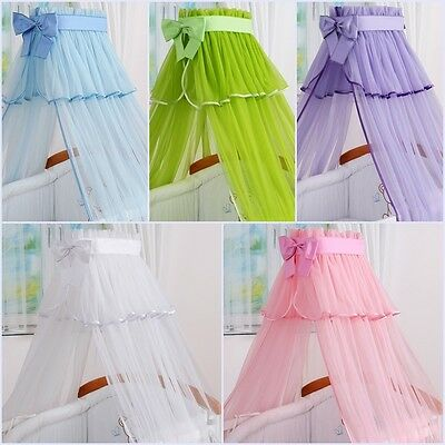 Luxury Baby Cot Bed Canopy Drape Net With Decorative Bow Colours