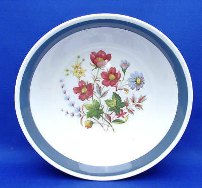 """4 Soup Cereal Bowls Alfred Meakin MEA287 Floral Center Blue Gray Band  6.5"""""""