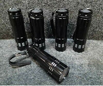 Lot of 5 Black Led Flashlights 9 LEDs Button Activated 29597A3010