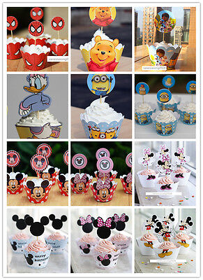 24Disney Cupcake Wrappers&Toppers Holder Party Decoration Birthday Miney Minnie