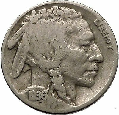 1936D BUFFALO NICKEL 5 Cents of United States of America USA Antique Coin i43826