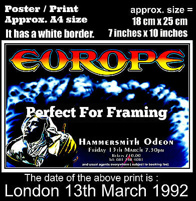 Europe Joey Tempest live concert London 13th of March 1992 A4 size poster print