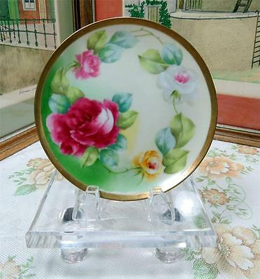 "ANTIQUE BM DE M CORONET LIMOGES RED & YELLOW ROSES 6 3/8"" SIDE PLATE"