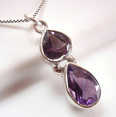 Faceted Amethyst Pendant Small 925 Sterling Silver Double Teardrops New