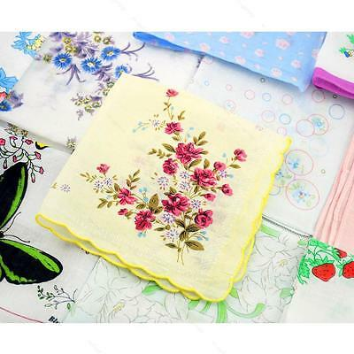 10Pcs Women Kids Vintage Cotton Yarn Hanky Towel #A Daily Floral Handkerchief