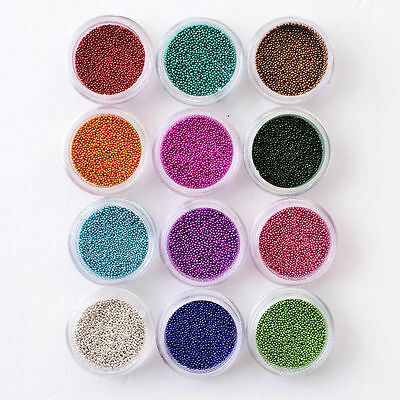 12 Colors Micro Beads 3D Caviar Decoration Pearls Gel Acrylic Nail Art UV
