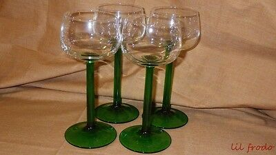 Crystal Wine Glasses Emerald pattern by Cristal D'arques/durand  marked FRANCE