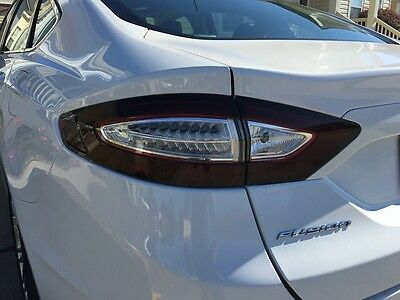 13-16 FORD FUSION TAIL LIGHT w/ WHITE CUTOUT PRECUT TINT COVER SMOKED OVERLAYS