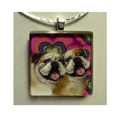 BULLDOG DOGS LOVE JEWELRY NECKLACE ART GIFT GLASS TILE PENDANT WITH CHAIN