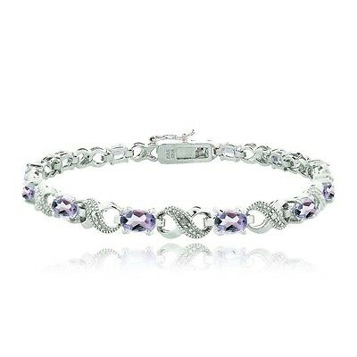 5.5 CARAT Amethyst & Diamond Accent Infinity Bracelet in Brass