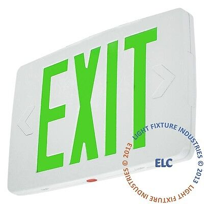 Green LED Exit Light Sign Slimline Battery Backup UL924 Fire Code Safety - LEDTG