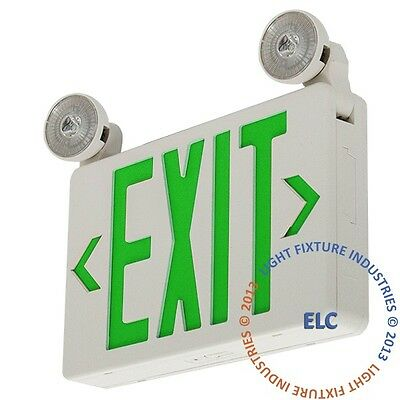 LED Exit Sign & Emergency Light – GREEN Compact Combo Fire Safety UL924 COMBOCG