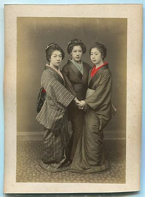 Japanese VINTAGE HAND COLORED PHOTO Meiji era(-1912) ORIGINAL Girls