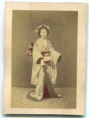 Japanese VINTAGE HAND COLORED PHOTO Meiji era(-1912) ORIGINAL Girls geisha