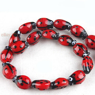 1 String Bettle Lampwork Loose Beads Free P&P 110877