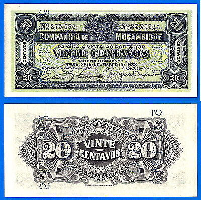 Mozambique 20 Centavos 1933 UNC Cancelled by Perforation Free Shipping World