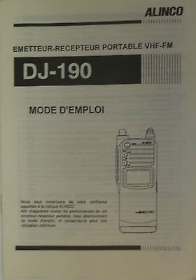 Alinco operating manual for model DJ-190 in french