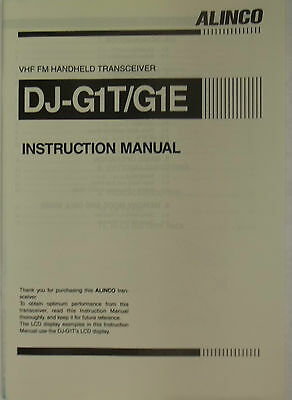 Alinco instruction manual for model DJ-G1T