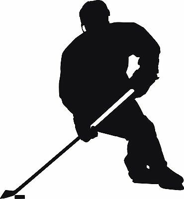ICE HOCKEY Player * SKATE * Window WALL DECAL * Vinyl Car STICKER ~ ANY COLOR