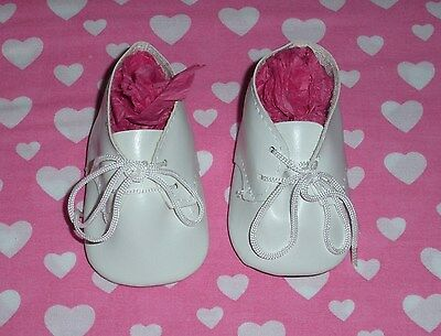 Fits 18 Inch Tiny Tears Doll...White Baby Tie Doll Shoes...Item No. 1876WH