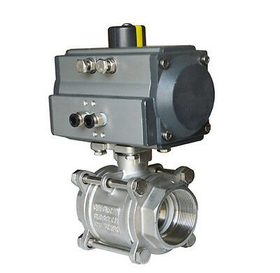 NPT 2inch 3 piece Pneumatic Actuated Ball Valve Double Acting Air Return 1000psi