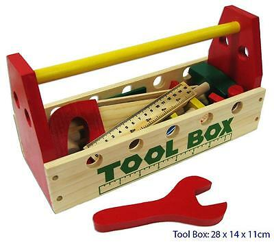 NEW Wooden Toy Tool Box w/ Tools 21Pc Set inc Hammer, Screwdriver, Saw, Spanner