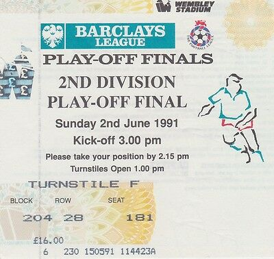 BRIGHTON & HOVE ALBION v NOTTS COUNTY ~ PLAY OFF FINAL 2 JUNE 1991~  MATCH TICKE