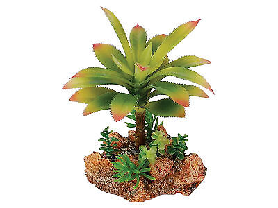 Desert Plant with Rock Base Vivarium Terrarium Reptile Ornament Decoration