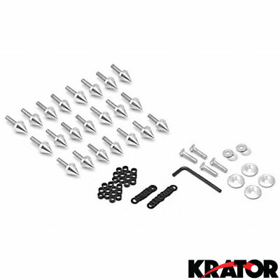 Krator Motorcycle Spike Fairing Bolts Silver Spiked Kit For 2003-2004 Suzuki Hayabusa GSXR 1300