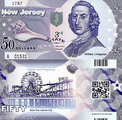 America (USA) $50 NEW JERSEY State FUN Banknote Polymer Note Bill NOT REAL