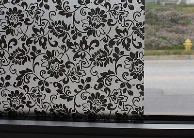 Black Flowers Frosted Static Stained Glass Decorative Vinyl Privacy Window Film