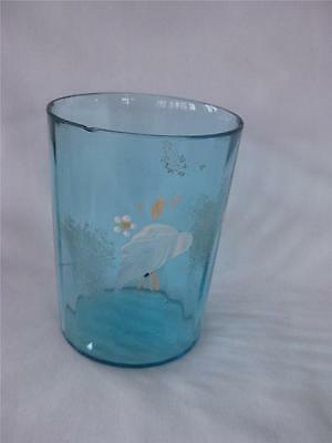 Vintage Mary Gregory hand painted Blue Floral Optic Panel Glass Tumbler