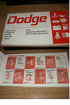 """DODGE 1978  """"operating istructions and product info """" 100% eng.Owner's Manual"""