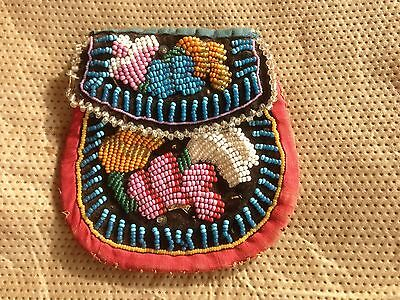 Iroquois Beaded Bag Antique Native American Beadwork Pouch 1920 DG06