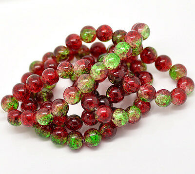 50 x Red & Green Crackle Glass Beads - 10mm - B16803