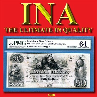Louisiana New Orleans Canal Bank $50 PMG Ch. Unc 64 PP-A Perfect Margins