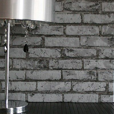 Rustic Grey Black & Silver Brick Look Wallpaper - Industrial / French -10m- NEW