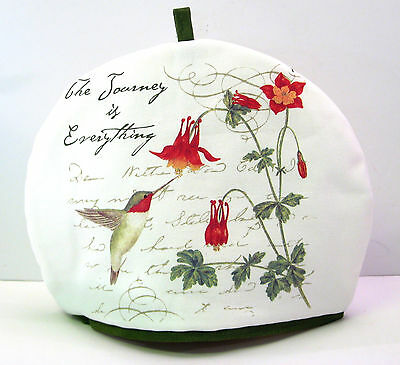 Alice's Cottage Cotton Tea Cozy Hummingbird The Journey is Everything - NEW