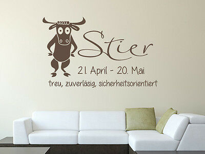 wandtattoo spr che sternzeichen stier nr 2 wandaufkleber wohnzimmer sticker eur 17 95. Black Bedroom Furniture Sets. Home Design Ideas